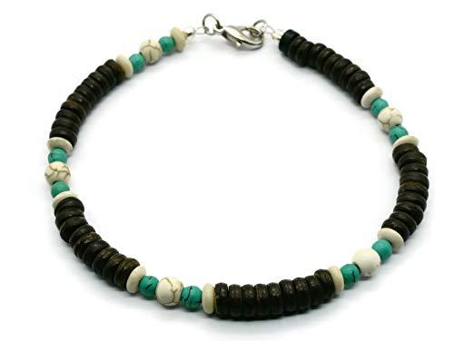 BrownBeans, Unique Wood Beaded Turtle Boho Hippie Anklet Anklet Bracelet (CAKT20000A) (9.5, A06) -