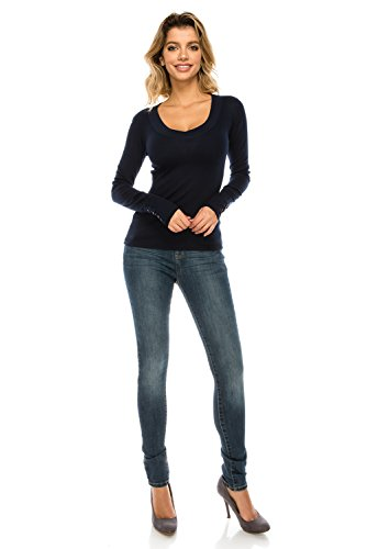 The Classic Woman's Basic Thick Band V-Neck Long Sleeve Button Detail Slim Fit Thermal T Shirt Top in Navy - Medium