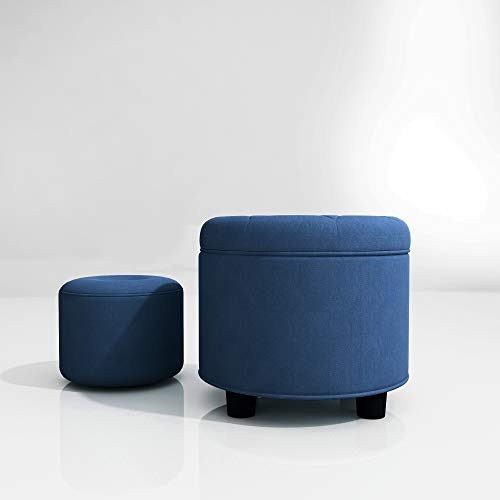Round Button Velvet Tufted Storage Ottoman Fabric Large+Small Family Children Foot stools Sets R=18.5inches for Living Room, Balcony, Bedroom, End of Bed Sitting (Dark Blue)