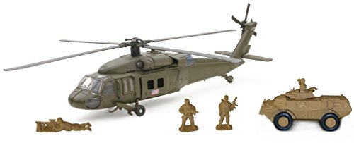 (New Ray Sikorsky UH-60 Hawk with Armored Vehicle Set, Black)