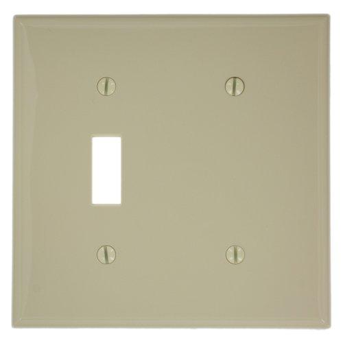 Leviton 80706-I 2-Gang 1-Toggle 1-Blank Device Combination Wallplate, Standard Size, Ivory (Ivory Toggle Plate)