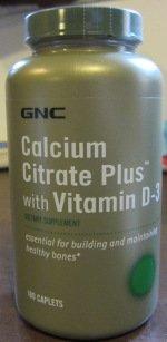 GNC citrate de calcium plus vitamine D-3 180 Comprimés