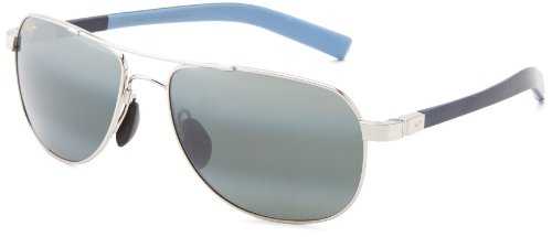 Maui Jim Guardrails 327-17 Polarized Aviator Sunglasses,Silver Frame/Neutral Grey Lens,One - Jim Castles Maui