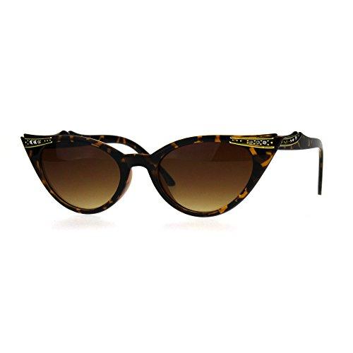Rhinestone Tortoise (Womens Rhinestone Nouveau Goth Cat Eye Small Snug Plastic Sunglasses Tortoise Brown)