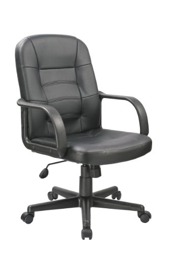 OFFICE FACTOR Bonded Leather Black Office Chair, Desk Chair, Ergonomic Office Chair, Swivel Office Chair With Caster Wheels by OFFICE FACTOR