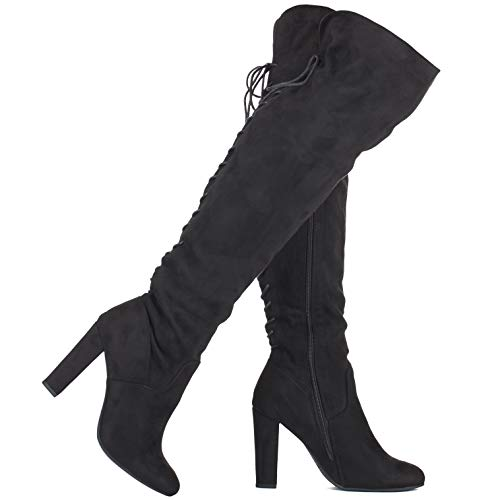 ILLUDE Women's Thigh High Stretch Boot - Trendy High Heel Shoe - Sexy Over The Knee Pull on Boots - Comfortable Block Heel Boots