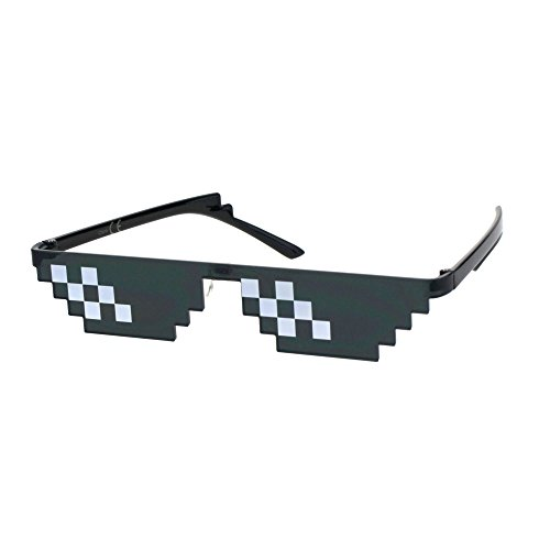Flat Top Narrow Cat Eye Pixel Funky Party Shade Rimless Shield Sunglasses Black (6 -