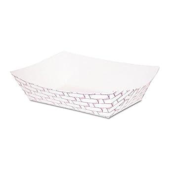Boardwalk 30LAG100 Paper Food Baskets, 16 oz Capacity, Red/White (Case of 1000)