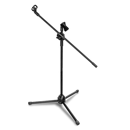 Flexzion Tripod Microphone Stand with Extending Boom Arm and Dual Mic Holder Clip On Stage Steel Construction 360-degree Rotating Folding for Conference Church Studio Audio DJ