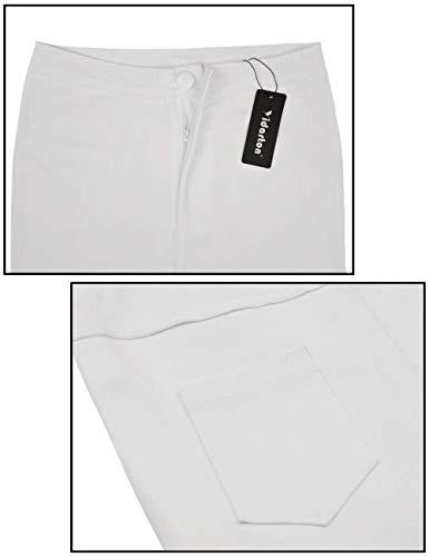 Pitillo Mujeres Blanco Casuales Lápiz Vaqueros De Para En Color Alta Sólido Cintura Las Rodillas Pantalones HvqwCU