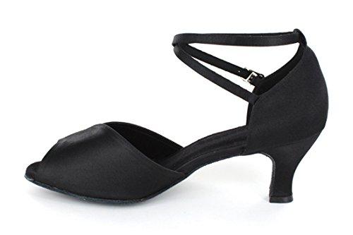 Tda Vrouwen Dansvoorstelling 601801 Mid Hielen Satijn Salsa Tango Ballroom Latin Schoenen Zwart / Rood