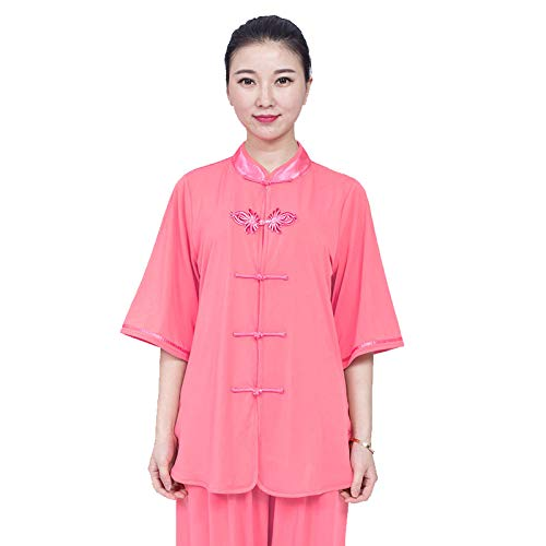 ZHL&M Tai Chi Uniform - Women's Shaolin Martial Arts Clothing Manual Manufacture Cotton Short Sleeve Tai Chi Kung Fu Taekwondo Training Clothing for Beginners Women Arthritis,Straightpink,L