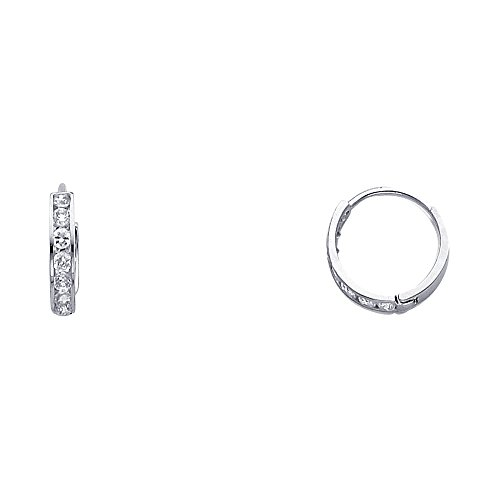 14k White Gold 2mm Thickness CZ Channel Set Hoop Huggie Earrings (12 x 12 mm) - White Gold Huggie Earrings