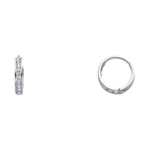 14k White Gold 2mm Thickness CZ Channel Set Hoop Huggie Earrings (12 x 12 mm) -