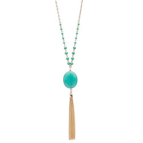 - CONCISE ROYAL Blue Green Fringe Tassel Long Necklaces for Women
