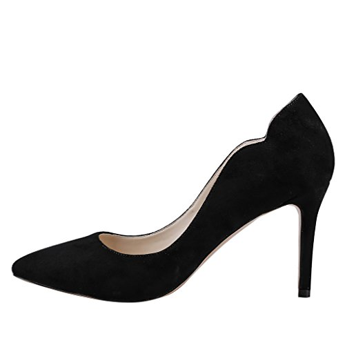 MERUMOTE Women's Middle Heels, Pointed Toe Thin Heels Shoes for Daily Dress Pumps Black-suede