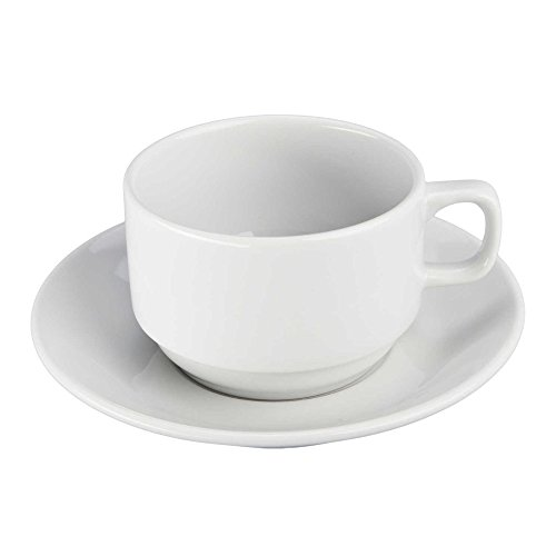 BIA Bistro White Porcelain 10 Ounce Coffee Cup and Saucer Set