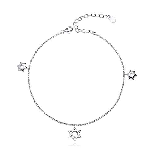- Womens Anklets 925 Sterling Silver Star of David Charm Anklet Bracelet Adjustable Ankle Foot Chain, Gift for Mother's Day