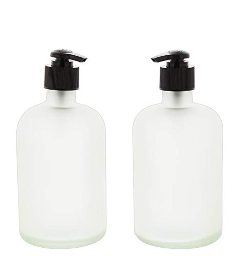 The Bridge Collection Set of 2 Frosted Glass Soap/Lotion Dispensers