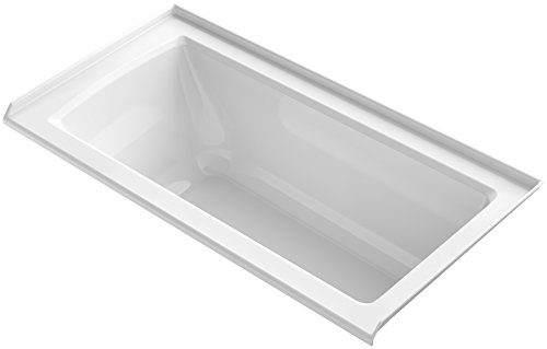 KOHLER K-1946-R-0 Alcove Bath with Tile Flange and Right-Hand Drain, 60'' x 30'', White by Kohler