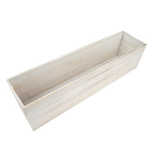 Efavormart 24x6'' Whitewash Wood Planter Boxes with Plastic Liner DIY Rustic Boxes Rectangle Wood Box for Wedding Party Decoration -