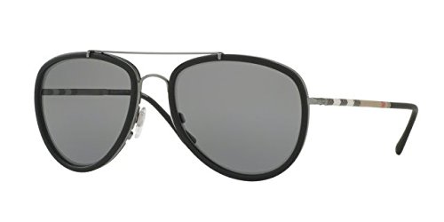 Burberry BE3090Q 1003T8 Gunmetal/Matte Black BE3090Q Aviator Sunglasses - Pola Sunglasses