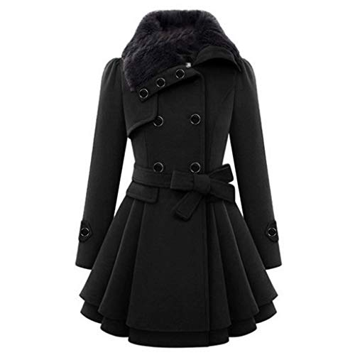 Womens Double Breasted Classic Pea Coat Plus Size Fashion Faux Fur Lapel Warm Thick Wool Trench Jacket with Belt Trench Black
