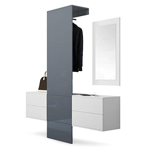 Vladon Vestiaire Garderobe Carlton Set 3 Corps En Blanc Mat Panneau