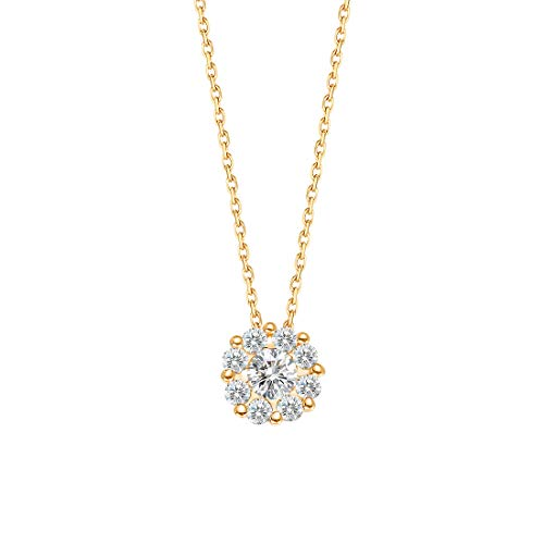 (Carleen 14K Solid Yellow Gold Round Pave Halo 0.226ct Diamond Pendant Necklace for Women Girls, 16