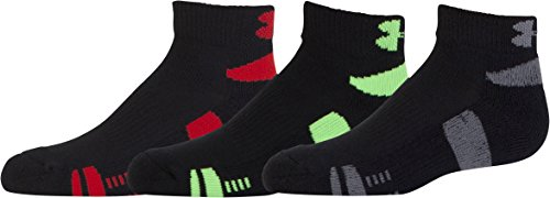 Under Armour Men's HeatGear Low Cut Socks (3 Pair), Black/Assorted Colors, Youth Large