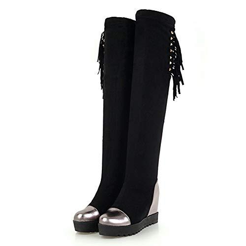 42 Crecientes Black Invierno Mujer Informal Rodilla Hoesczs Botas 34 Grande Zapatos Sobre Tamaño Tacones La Plataforma tX6xqTxBwZ