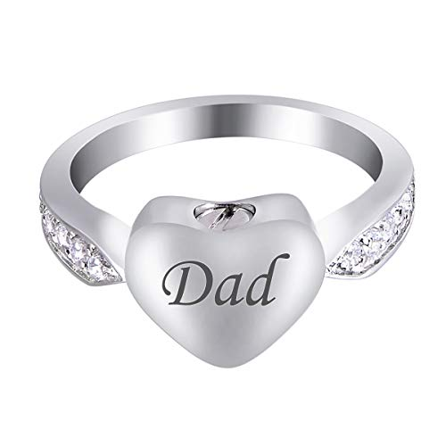 - Valyria Crystal Inlay Love Heart Engravable Stainless Steel Cremation Ring Memorial Ring Rembrance Ring for Ashes Keepsake