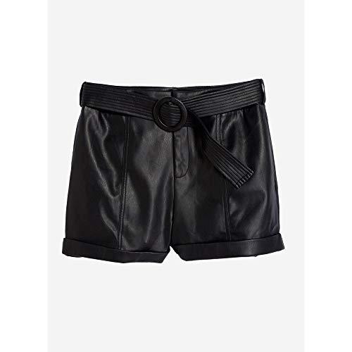 Shorts Dudalina Liso Com Cinto Couro Fake Feminino Short Cinto Liso-Preto/black-36