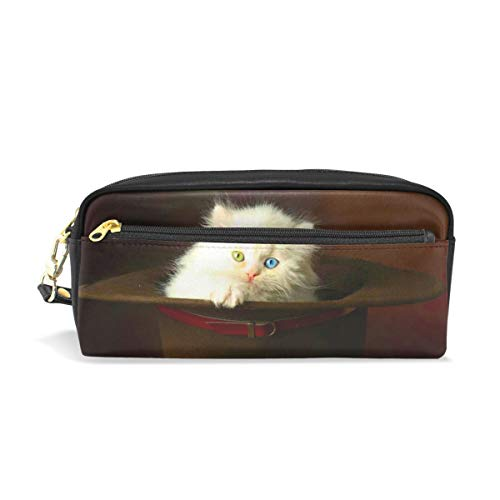 Top Carpenter Pencil Case Pouch Bag Cute Cat in Hat for Makeup Office Student 1.7x0.75x0.5in ()