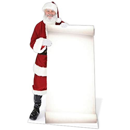 (Santa with Large Sign Board Lifesize Standup Cardboard Cutouts 70 x 38in)