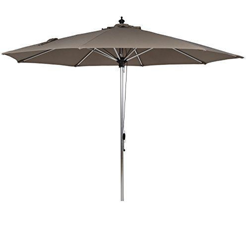 Ulax furniture Sunbrella Patio Umbrella 10 Ft Outdoor Aluminum Market Umbrella with Pulley System, Taupe