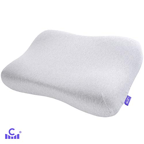 Cushion Lab Extra Dense Gel-Infused Memory Foam Contour Pain Relief, Ergonomic Cervical Pillow for Back and Side Sleepers, Firm Neck Support, Certipur, Standard Light Grey
