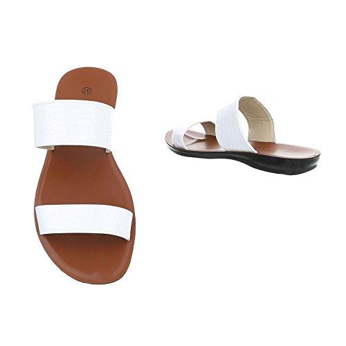 suunnittelu White Tasainen Sandaalit Muulit Naisten Ital AHdO6B1qA