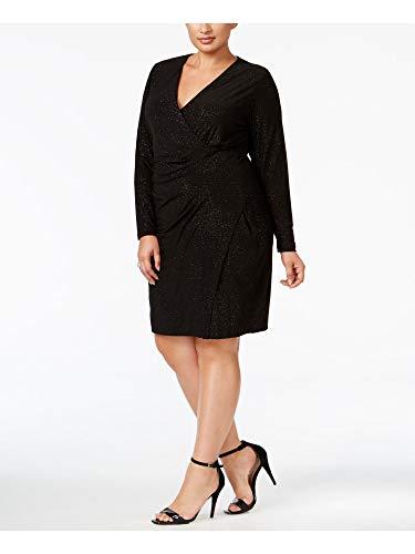 Calvin Klein Women's Plus Size Long Sleeve Side Ruched Faux Wrap Dress, Black, 18W