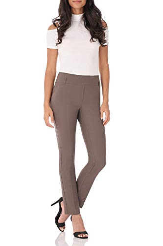 (Rekucci Women's Ease in to Comfort Fit Stretch Slim Pant (12,Mocha))