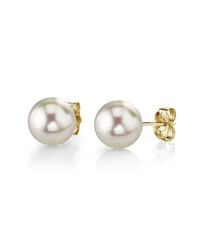 THE PEARL SOURCE 14K Gold 7.5-8mm AAA Quality Round White Cultured Akoya Stud Pearl Earrings for Women -