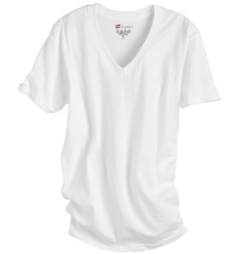 Hanes Classic V-Neck T Shirt 3-Pack 3-Pack, White, (Classic Adult White T-shirt)
