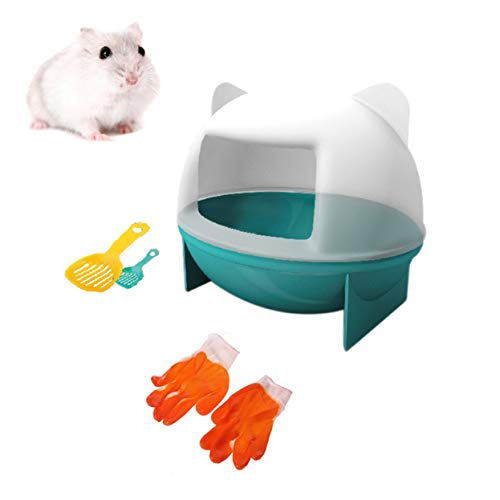 Hamster Dust Bath House, Plastic Sand Bathroom Container with Scoop Hamster Sandbox Protective Gloves for Small Animals Chinchilla Golden Bears Black Bear Hamsters Gerbil Mouse.