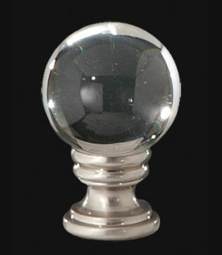 B&P Lamp Clear Crystal Ball Finial, 1 5/8 In Ht. 1/4-27 Tap by B&P Lamp