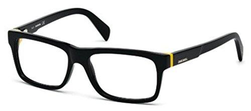 Diesel Men's DL5071 Plastic Geometric Black Frames 55 (Schwarze Designer-brille)