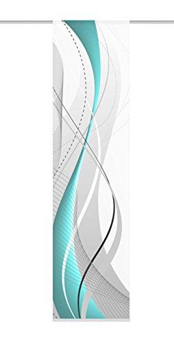 Home fashion 87152-728 Schiebevorhang Digitaldruck Carlisle, Dekostoff Seidenoptik, 245 x 60 cm, petrol