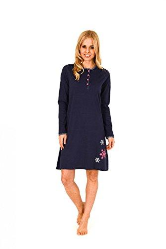 Damen Nachthemd langarm mit Knopfleiste - 261 213 90 122, Größe:40/42;Farbe:marine