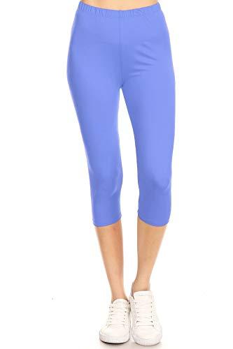Leggings Mania Women's Solid Colored Capri Leggings Plus Size Sky - Blue Womens Capris Sky