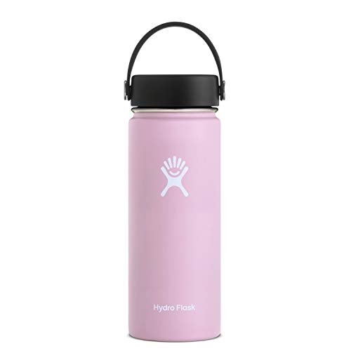 Hydro Flask Water Bottle - Stainless Steel & Vacuum Insulated - Wide Mouth with Leak Proof Flex Cap - 18 oz, Lilac (Lilac Standard)