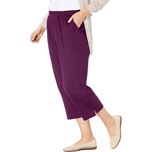 Day Berries - Woman Within Women's Plus Size Petite 7-Day Knit Capri - Dark Berry, 2X